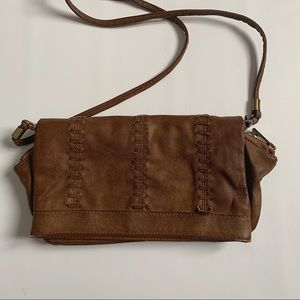 Aldo brown faux leather clutch